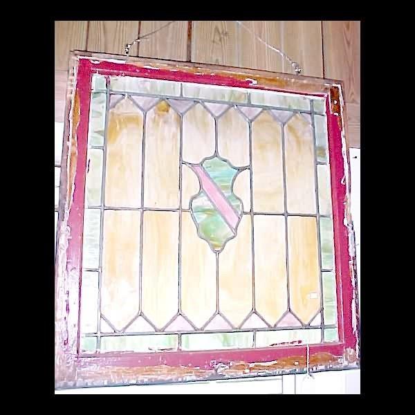 418: Slag Glass Leaded Window