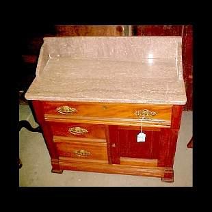 c.1890 Walnut Marble Top Washstand