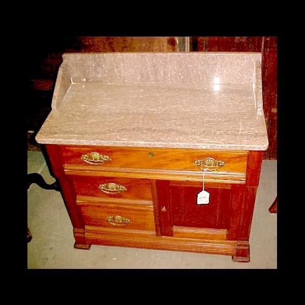 422: c.1890 Walnut Marble Top Washstand