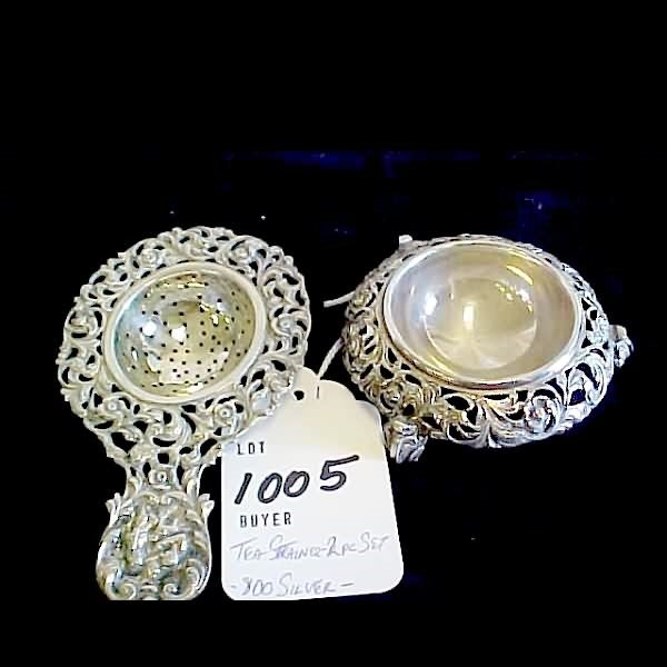 1005: Ornate 800 Silver Tea Strainer & Footed Bowl