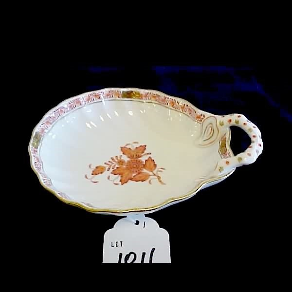 1011: Herend Handpainted Floral & Gilt Shell Bowl Dish