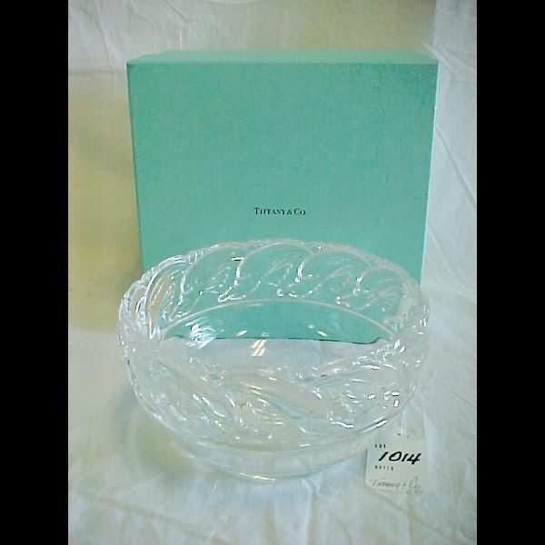 """1014: 8"""" Tiffany & Co. Crystal Bowl Raised Nautical Rim"""