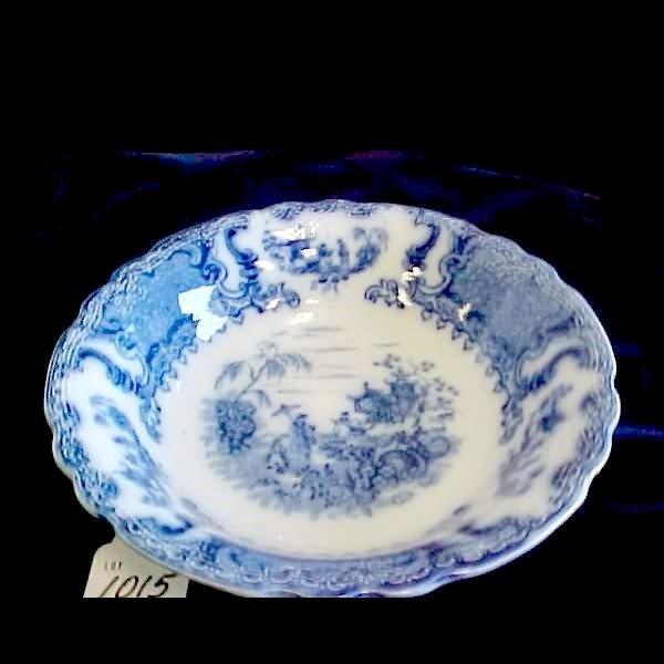 "1015: 10"" Flow Blue Geisha Bowl - Upper Hanley"