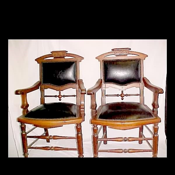 1021: Pr. Of Walnut Arm Chairs