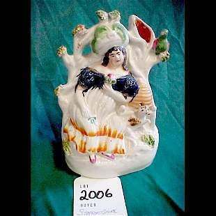19th Century Staffordshire Spill Vase, cat-bird
