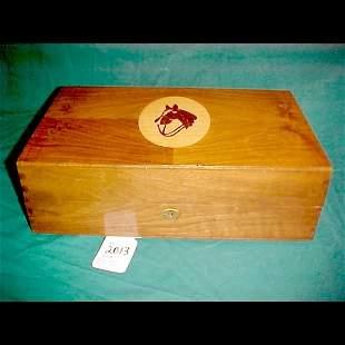 Inlaid Horsehead Musical Box w/liquor Glasses