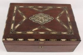 EARLY WOODEN HUMIDOR WITH MOTHER OF PEARL INLAY