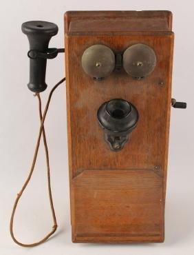 OAK WOOD WALL BOX TELEPHONE