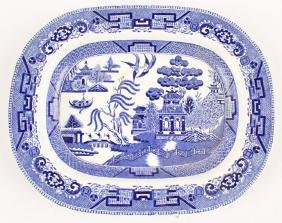 RIDGWAY BLUE WILLOW PLATTER SEMI CHINA ENGLAND