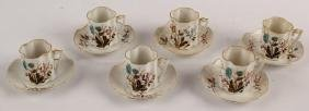 12 PC DEMITASSES CHOCOLATE FLORAL CUP & SAUCER SET