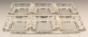 SET OF 6 SQUARE HEISEY GLASS ASHTRAYS