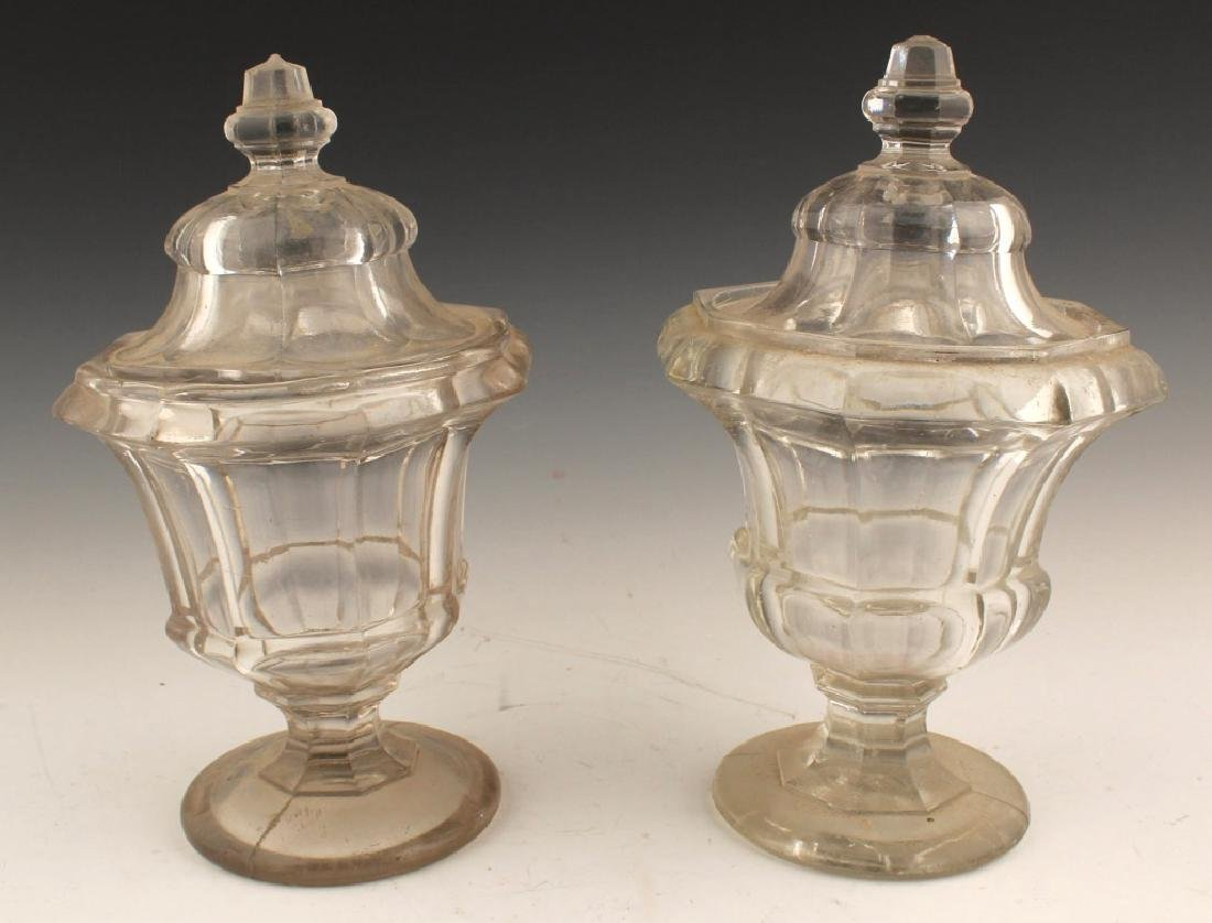 PAIR OF LIDDED GLASS CANDY DISH COMPOTES