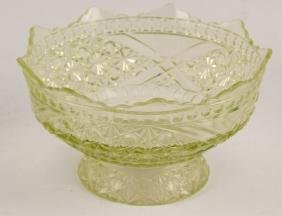 UNMARKED CLEAR GREEN ETCHED GLASS COMPOTE