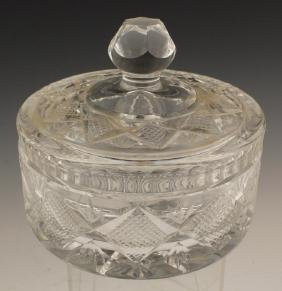 WATERFORD CUT GLASS LIDDED CANDY DISH