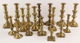 17 BRASS CANDLESTICKS