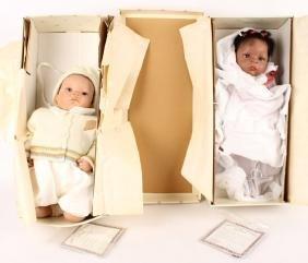 2 ASHTON DRAKE BABY DOLLS MIGUEL & JASMINE