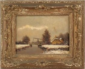 19TH C OIL ON BOARD DUTCH LANDSCAPE PAINTING