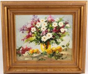 OIL ON CANVAS FLORAL STILL LIFE W ORANGES PAINTING
