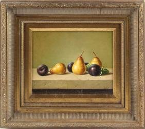 OIL ON BOARD FRUIT STILL LIFE SIGNED