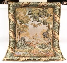 TAPESTRY HUNTING DOG WITH DEER W ACANTHUS BORDER