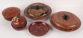 5 INDIAN & CHINESE LACQUER WOODEN DISHES