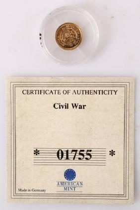 14K GOLD $10 LIBERIA COIN CIVIL WAR AMERICAN MINT