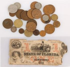 1863 STATE OF FL 1 DOLLAR BILL AND MIXED COINS