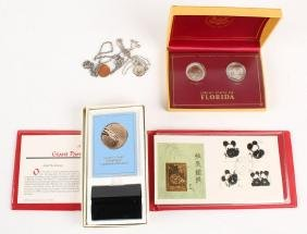 COMMEMORATIVE MEDAL CHINESE STAMP & MIXED COINS
