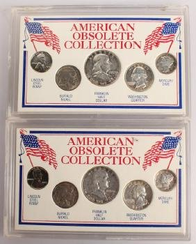 2 AMERICAN OBSOLETE COLLECTION SILVER COIN SETS