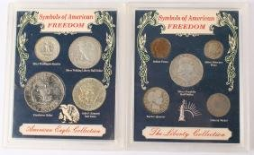 2 SYMBOLS OF FREEDOM LIBERTY SILVER COIN SETS