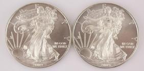 TWO 2009 UNITED STATES SILVER EAGLES 1 OZ 999 FINE