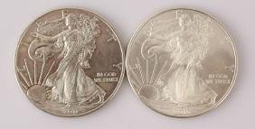 TWO 2010 & 2011 U.S. SILVER EAGLES 1 OZ. .999 FINE