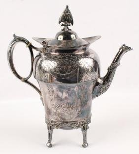 LARGE WEBSTER SILVER PLATED STANDING TEA KETTLE