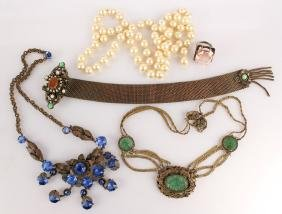 EARLY 20TH C LADIES COSTUME JEWELRY NECKLACES