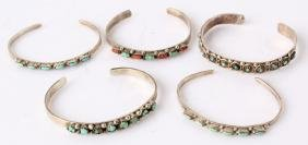 5 ZUNI STERLING SILVER TURQUOISE CUFF BRACELETS