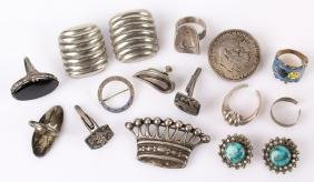 STERLING SILVER JEWELRY--BROOCHES, RINGS & MORE