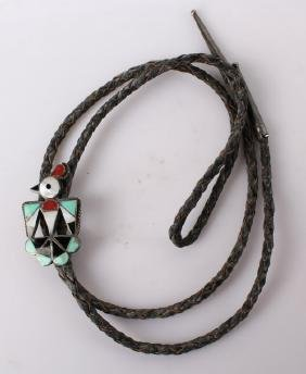 STERLING SILVER ZUNI THUNDERBIRD LEATHER BOLO TIE