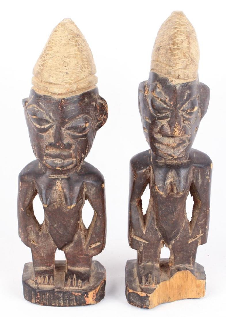 PAIR OF YORUBA IBEDJI WOODEN FIGURES / DOLLS