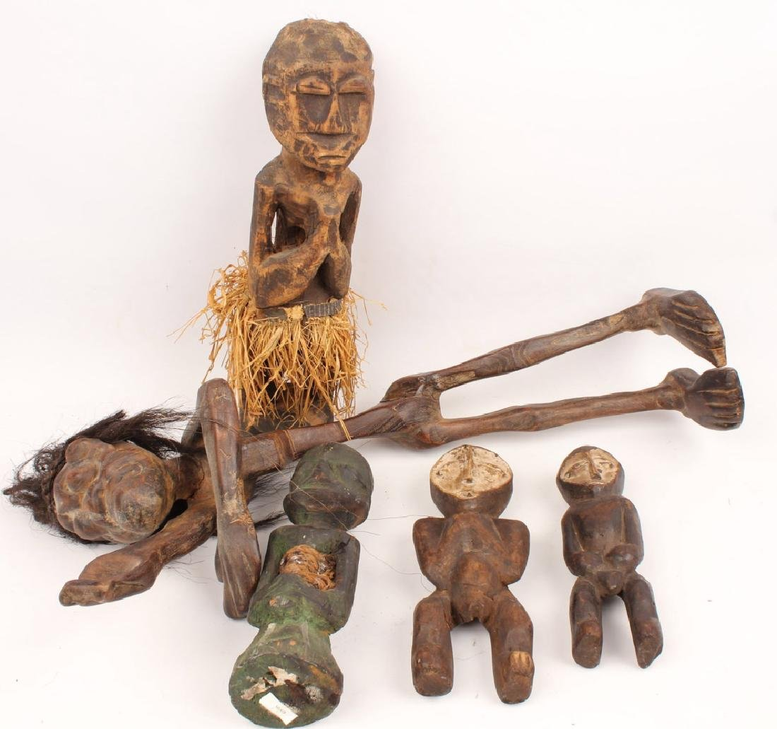 5 AFRICAN WOOD POWER FERTILITY DOLLS / FIGURES