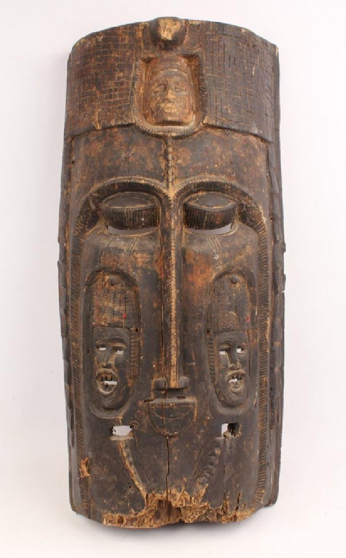 LARGE AFRICAN CARVED WOOD TRIPLE FACE MASK