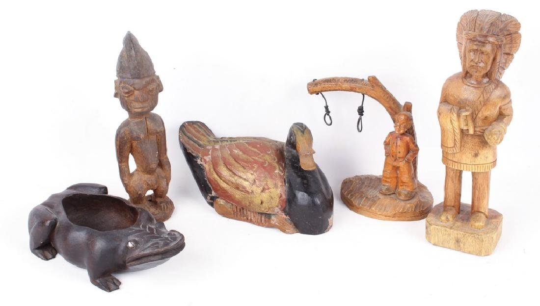 5 CARVED WOODEN SCULPTURES