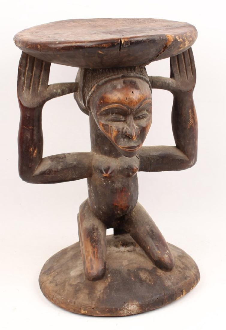 AFRICAN WOOD CARVED STATUE CARYATID STOOL