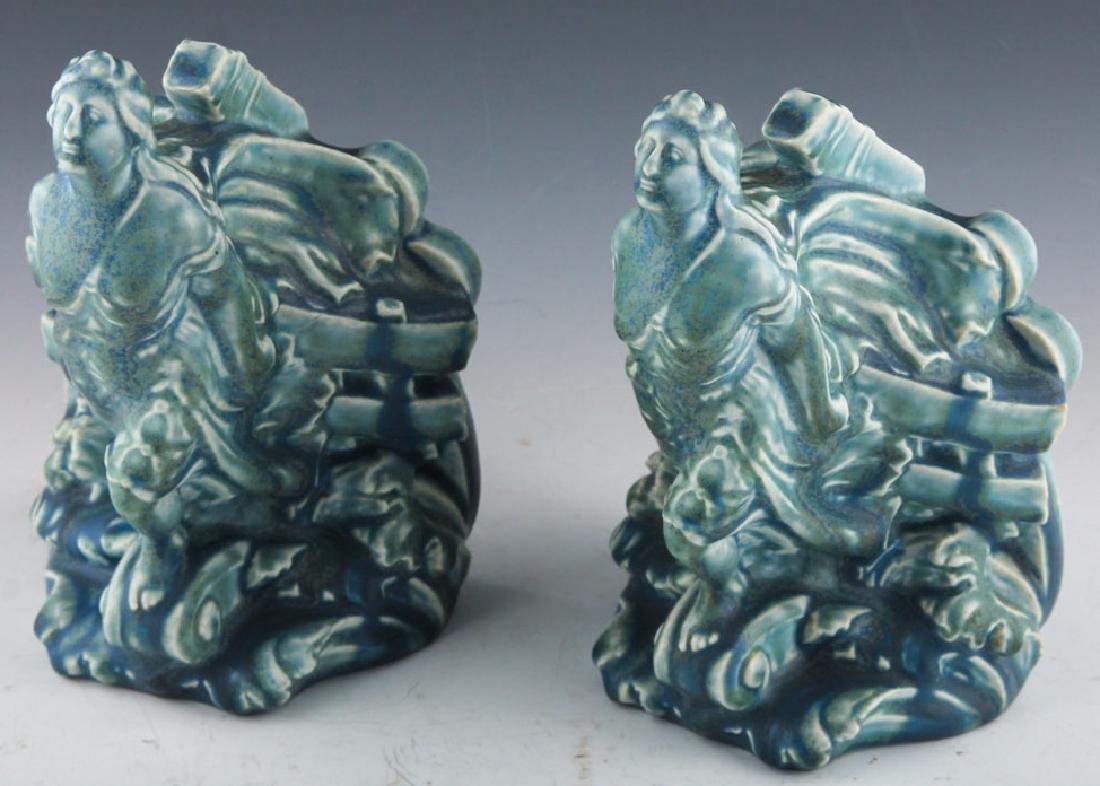 PAIR ROOKWOOD POTTERY FIGUREHEAD BOOKENDS 1926