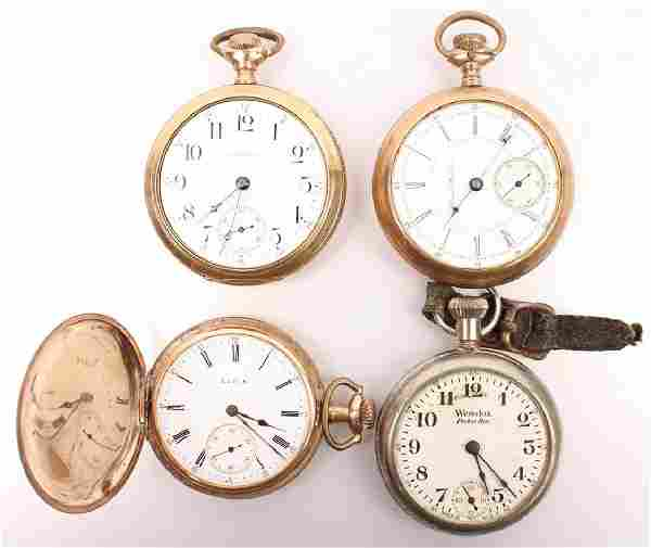 4 GOLD FILLED POCKET WATCHES--FOR PARTS OR REPAIR