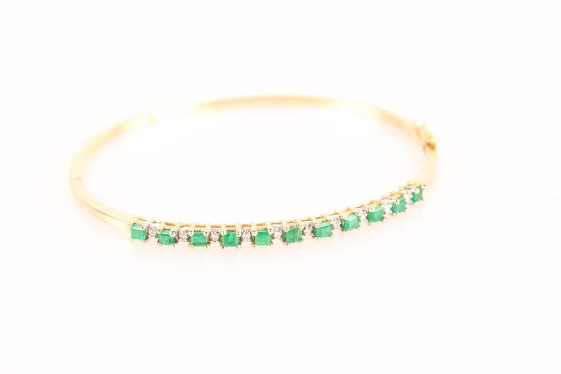 10K YELLOW GOLD LADIES EMERALD DIAMOND BRACELET
