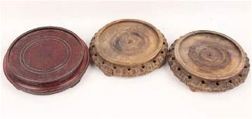 3 CHINESE CARVED WOOD BASES