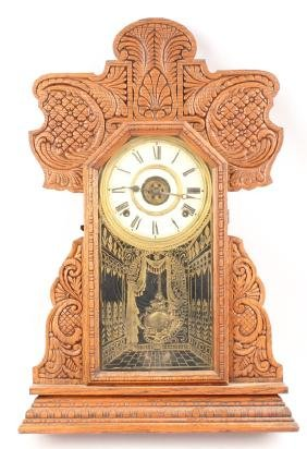 BUTLER BROTHERS WOOD CASE MANTLE CLOCK
