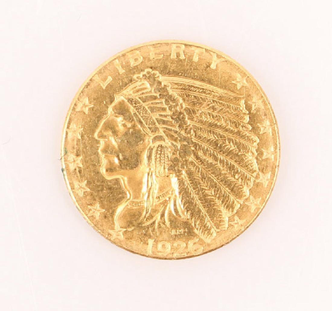 1926 U.S. QUARTER EAGLE INDIAN $2.50 GOLD COIN