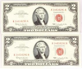2 CONSECUTIVE $2.00 RED SEAL MONTICELLO NOTES