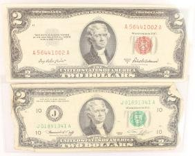 2 JEFFERSON $2.00 BILLS RED GREEN SEAL 1953 1976